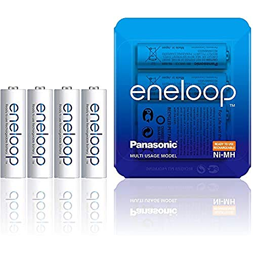 Panasonic eneloop, confezione da 4 pile NiMH pronte all'uso, AA stilo, confezione utilizzabile come custodia, min. 1900 mAh, 2100 cicli di carica, potenza elevata, batteria accumulatore ricaricabile