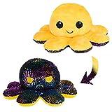 Fancy peluche pieuvre réversible 20 cm jaune poulpe mignon doudou poulpy Humeur multicolore peluche Octopus cadeau créatif pour enfants et adultes