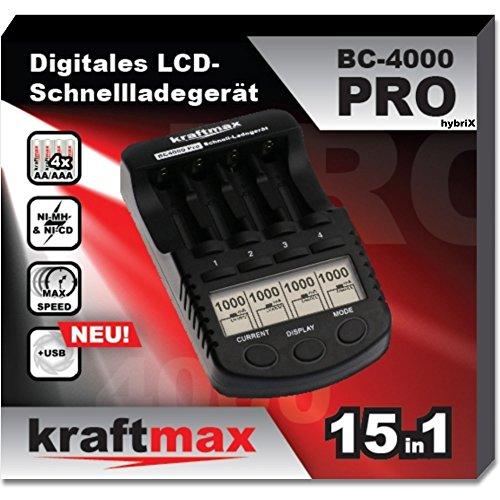 kraftmax Akku Ladegerät BC-4000 Pro Hybrix - optimiert für Hybrix Akkus - LCD Display und Prozessor/Hochleistungs- Schnellladegerät für Akkus der neuesten Hybrix Generation