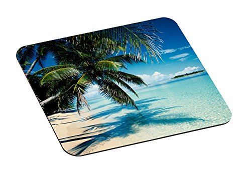 """3M Precise Mouse Pad with Non-Skid Foam Back, Enhances the Precision of Optical Mice at Fast Speeds, 9""""x8"""", Fun Beach Design (MP114YL)"""