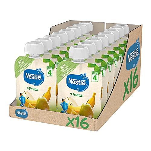 Nestlé Bolsita de puré de frutas, variedad 4 Frutas - Para bebés a partir de 4 meses - Paquete de 16 bolsitasx90g ✅
