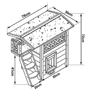 dibea Maison/Lodge Cabane en Bois avec Terrasse pour Chat - 77 x 53 x 72 cm - Marron