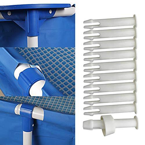 Surakey Intex Pool Ersatzteile, 12 Stück Joint Pins 10312 & Seals für Intex 13-24 Frame und Round Pool, Intexpool Replacement Ersatzteile, 6cm/2.36in Länge