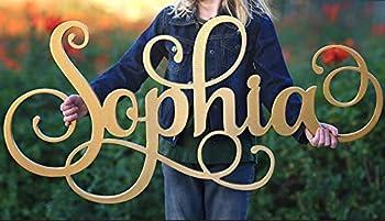 Custom Girls Name Nursery Wooden Sign Sophia Font Personalized Nursery Decor New Baby Gift First Name Wood Cutout Personalized Kids Room Sign Decor