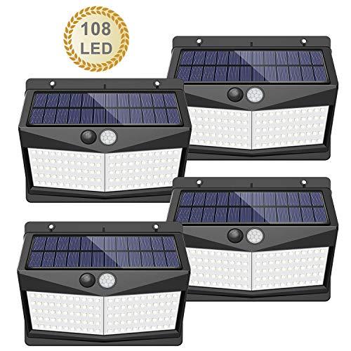 【108 LED / 3 Modos】Luz solar exterior