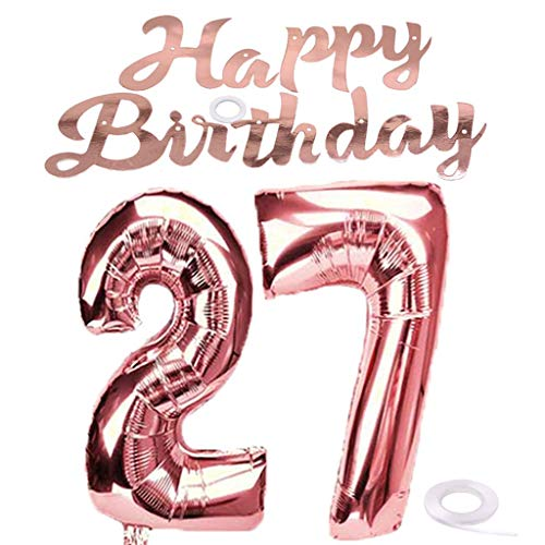 SNOWZAN Globo gigante de 27 cumpleaños en oro rosa para niña número 27 globos de helio con número 27 globos con números grandes de XXL para guirnalda de 32 pulgadas número gigante