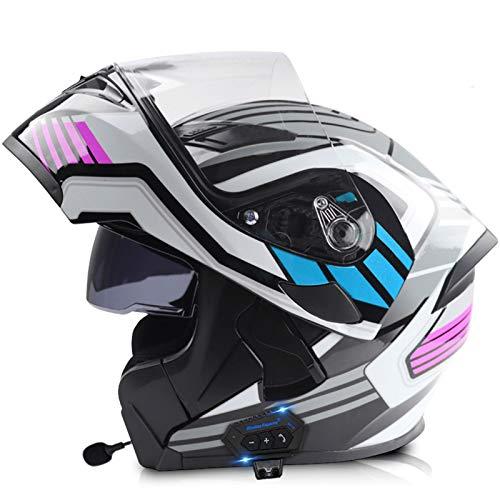 ZLYJ Casco De Motocicleta Integrado con Bluetooth Casco Abatible De Doble Visera Casco De Protección Modular para Respuesta Automática Casco Integral Certificado ECE L,M(57-58cm)