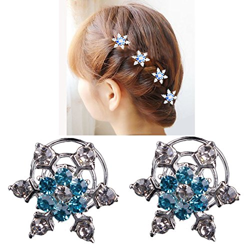MIYA Set de 4 accesorios de pelo elegantes con forma de copo de nieve, con horquilla brillante y piedras de estrás...