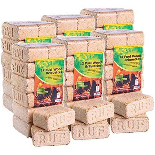 AMOS 100% Natural RUF Heat Briquettes Alder Birch Dry Wood - 72 Bricks - 60kg - Low 10% Moisture - Easy to Light - Low Ash - Eco Friendly - for Open Fire Stove Burner Fuel Stove Wood Burner Chiminea