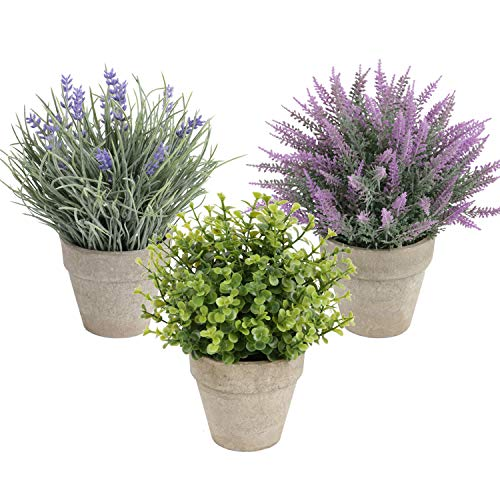 Homcomoda Decorative Artificial Plants in Pots Fake Green Plants Artificial Lavender Flower for Office Desktop Decoration