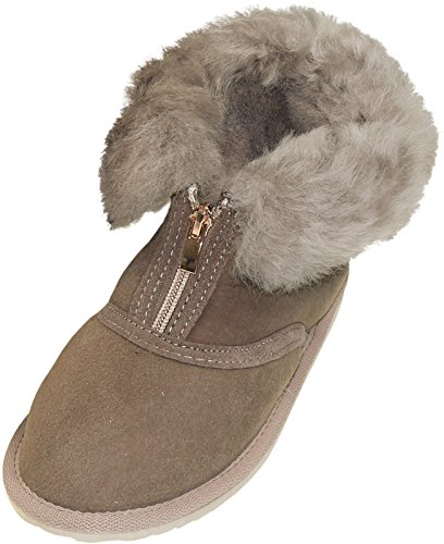 Harrys-Collection Extra Dicke Halbhohe Lammfell Schuhe Reißverschluss, Farben:grau, Schuhgröße:39