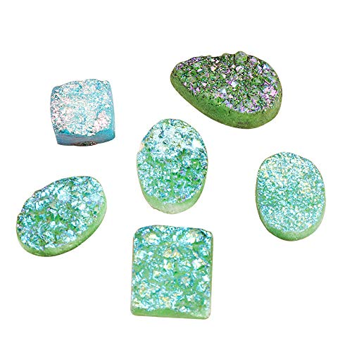 GEMHUB Druzy Stone Green Color 120 Carat Lot of 6 Pcs Mix Shape Loose Gemstone for Jewelry Making