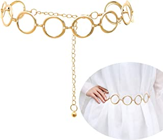 Alloy Waist Chain Body Chain for Women Waist Belt Belly Chain Adjustable Body Harness for Jeans Dresses – Gold Ring Buckle Style 6