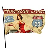 Oaqueen Flagge/Fahne American Dinner Car with Sexy Hot Girl Home Flag Large 3x5 Ft Vertical Outdoor House Decor Yard Celebration Procession Festival Flag