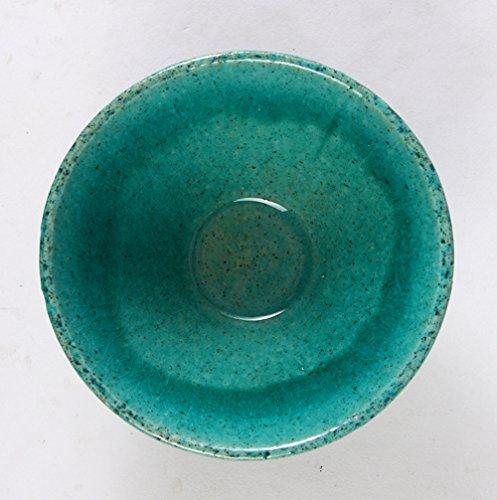 みのる陶器土物ドット茶碗(中)ターコイズグリーン