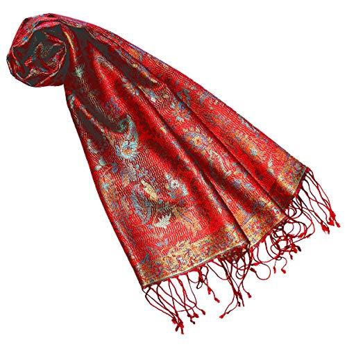 Lorenzo Cana Luxus Seidenschal für Frauen Schal 100% Seide gewebt Damenschal elegant Paisley Muster Mehrfarbig, Türkis-rostrot, 35 x 160 cm