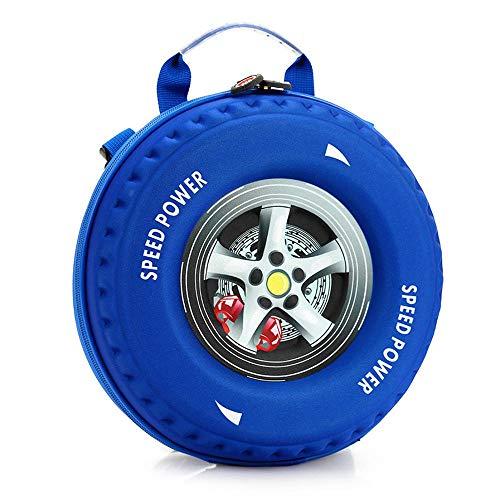 Wildpack Mochila para Niños Dibujos Animados Diagonal 3D Carcasa Dura Bolsa De Neumáticos para Automóviles Mochila De Personalidad Blue