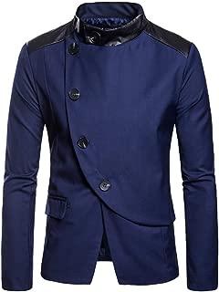Men's Casual Autumn Winter Long Sleeve Solid Button Suit Lapel Jacket Top