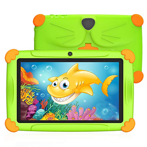 Tablet per Bambini 7 Pollici Android 10.0 Con WiFi 3GB RAM 32GB ROM Quad Core Kid-Proof Angolo Supporto APP Iwawa Netflix Google Play 1 a 12 Anni Educativo - Verde