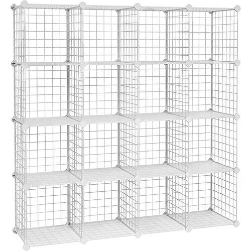 SONGMICS Steckregal, 16 Würfel Aufbewahrungssystem aus Metalldraht, DIY Schrank, modular, Gitterregal, mit Drahtrahmen, weiß LPI44W