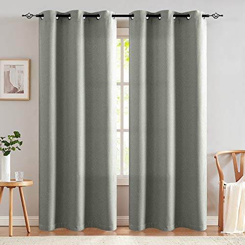 jinchan Grey Linen Fabric Moderate Blackout Curtain Panels for Bedroom Room Darkening Drapes for Living Room Window Treatment Set (2 Panels, 84-Inch, Grey)