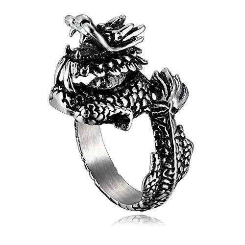 Beglie Herren Ring 26MM Edelstahl Drachen Ring Edelstahl Herren Siegel Silber Schwarz Biker Ring 57 (18.1)