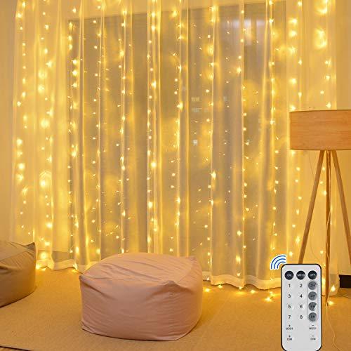 Tarnel 3M × 3M LED Vorhang Lchterkette Fenster Lichterkettenvorhang 300 LEDs 8 Modi USB Warmweiß Vorhang Lichte für Innen Weihnachten Kinderzimmer Außen Party Hochzeit mit Fernbedienung