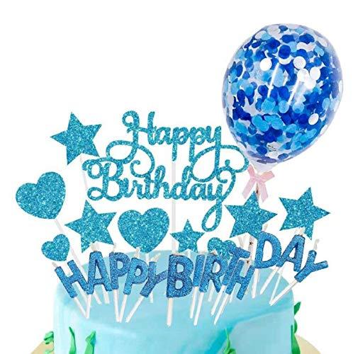 SunAurora Happy Birthday Cake Topper, Decorazione per Torta, Candeline Compleanno, Coriandoli Palloncino, Stelle Cuori Topper Torta, per Matrimonio Compleanno Baby Shower Party Decorazioni (Blu)