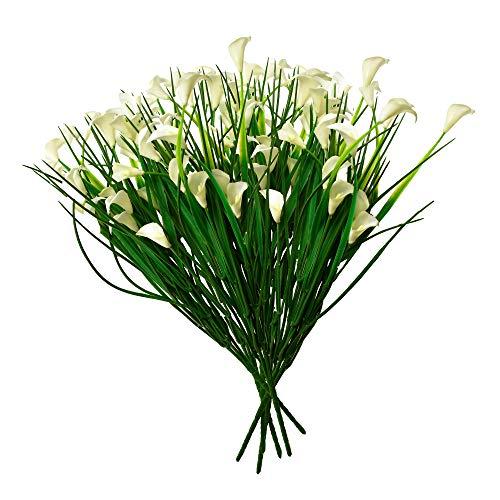 Only Art Flores artificiais de lírio Calla ao ar livre (branco leite)