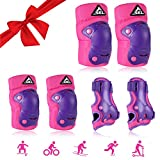 Kids Knee Pads Elbow Pads Guards Protective Gear Set for Skates Skateboard Rollerblade Roller Cycling Bike Inline Scooter Riding, Toddler Wrist Guards for Sports Purple