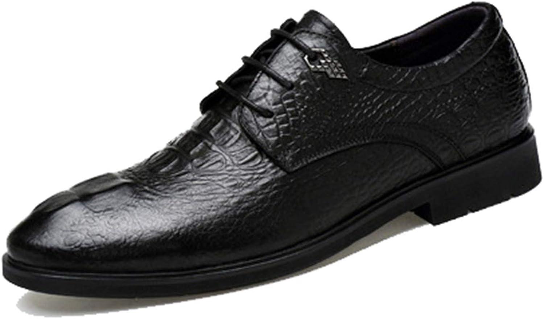 FOXSENSE Crocodile Pattern Leather Round Cap-Toe Oxfords for Man