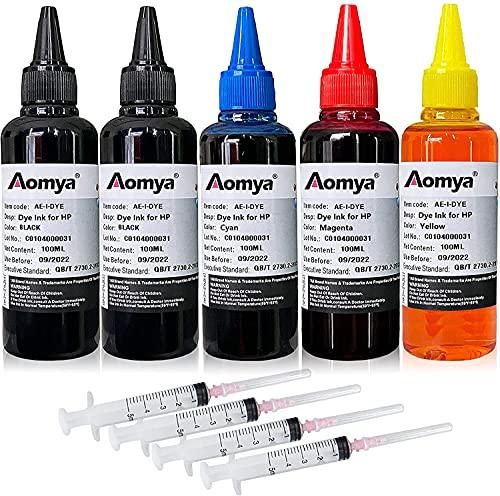 Aomya - Kit de recambio de tinta para impresora HP 61, 60, 62, 63, 950, 951, 564, 920, 901, cartuchos recargables CIS CISS System (2 negro, 1 cian, 1 magenta, 1 amarillo)