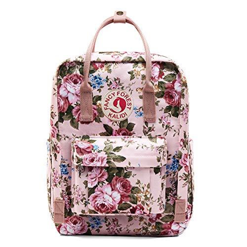 KALIDI Zaino unisex leggero zaino scuola impermeabile casual zaino adatto per computer portatili da 15 pollici per ragazzi ragazze uomini e donne, Fiore rosa., 15 pollici,