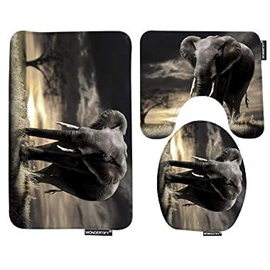 Wondertify Bath Mat,Elephant,Tree Glass Bathroom Carpet Rug,Non-Slip 3 Piece Bathroom Mat Set
