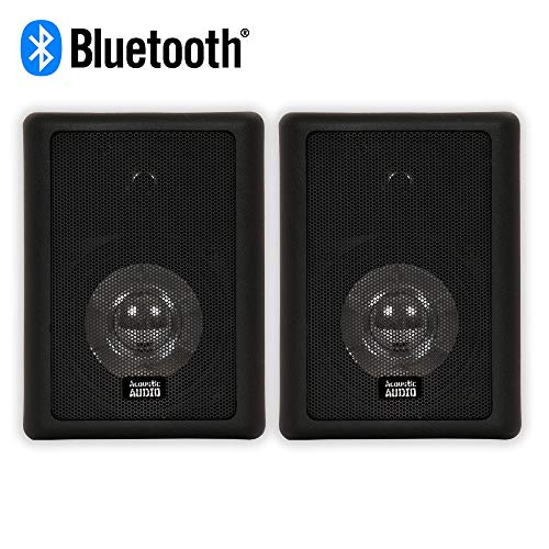 Fantastic Prices! Acoustic Audio 151B Bluetooth Indoor or Outdoor Powered Speaker Pair Black
