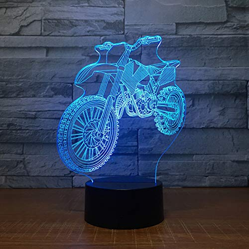 KangYD 3D Night Light Motocross Bike Shape, LED Optical Illusion Lamp, F - Bluetooth Audio Base(5 Color), Decor Lights, Touch LED, Decor Lamp, Atmosphere Lamp, Colorful Lights, Valentines Gift