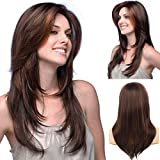 Baruisi Long Layered Wig Brown with Highlights Multicolor Wavy Synthetic Cosplay Hair Wig for Women