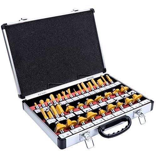 HSEAMALL 35 piezas 12,7 mm vástago TCT carburo de tungsteno punta Router Bit Set,Herramienta de fresado de carpintería para fresadora eléctrica