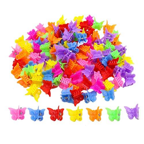 Lot de 100 pinces à cheveux papillon pour filles et femmes, jolies petites pinces à cheveux en vrac, couleurs assorties