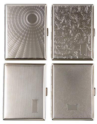 2 x Zigarettenetui Tampa Silber Metall für je 16 Zigaretten Normale Länge + 100mm geeignet, Etui Zigarettenbox ohne Schockbilder - LK Trend & Style