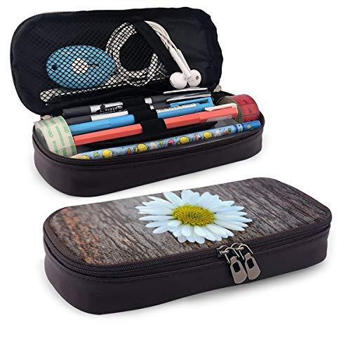 Estuche de madera con diseño de flores en una mesa para lápices, estuche para lápices de maquillaje, estuche organizador de lápices duradero para estudiantes, papelería con doble cremallera para la escuela, la oficina o viajes
