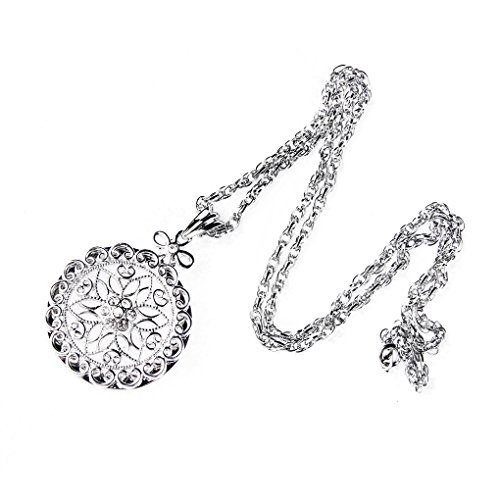 Magnifier Necklace Magnifying Glass Pendant Necklace Vintage Pendant Reading Accesories Books Lover Glass Pendant Jewelry Magnifying Glass Jewellery Eye Glass Necklace Monocle (Silver (P-0029G))