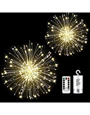 Feuerwerk 150 LED Starburst Lichter mit 8 Modi Beleuchtungs effekt wasserdicht Kupferdraht Lichter mit Fernbedienung für Party Garten Hochzeit Weihnachten(2 Stück)