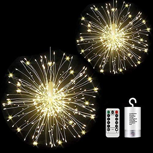 Luci Fuochi d'Artificio, StillCool Luci da Fata LED 2 Pacchi 150 LED 8 modalità Telecomando Interno All'aperto Giardino Nozze Natale Festa arredamento Bianco caldo (bianco caldo)