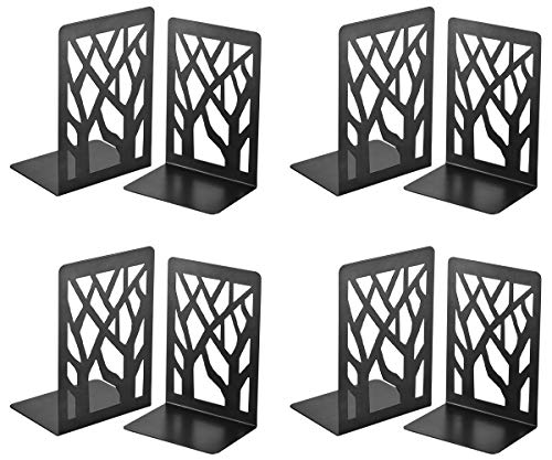 Book Ends, Bookends, Book Ends for Shelves, Bookends for Shelves, Bookend, Book Ends for Heavy Books, Book Shelf Holder Home Decorative, Metal Bookends Black 4 Pair, Bookend Supports, Book Stoppers