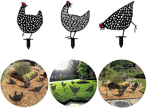 Ubrand Chicken Yard Art Garden Lawn Floor Decoration Ornament Hollow Out Animal Shape Decor for Outdoor Garden Backyard Lawn Ornament (5 pcs)