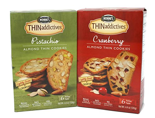 General Variety Pack - Nonnis Thin Addictives (4.4oz) - Pistachio Almond Thin Cookies, Cranberry Almond Thin Cookies