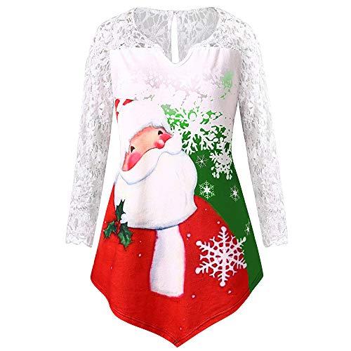 Auifor Vrouwen Kerstkerstman druk kant Tunika T-shirt Long Sleeve Top