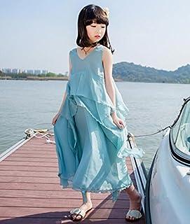 LuckyYumi 子供ドレス 女の子 ピアノ 発表会 パーディー 演奏会 フォーマル 入園式 結婚式 ワンピース (150cm, ブルー)