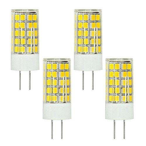MENGS® Pack de 4 Bombilla lámpara LED 6 Watt G4, 63x2835 SMD, Blanco Cálido 3000K, AC/DC 12V